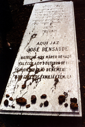 Jose Bensaude's grave in the jewish cemetery of Sao Miguel in the Azores